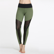 Green Dyed Yoga Leggings Sports Pants with Black Mesh Low MOQ