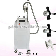 Vertical cryolipolysis cryotherapy machine with cavitation and rf