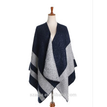 Ladies stripe winter poncho shawl