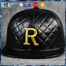 New and hot trendy style top quality custom 3D emborider R LOGO leather snapback caps hats in many style