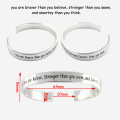 Trendy Personalized Stainless Steel Bangle Engraved Cheering Saying Cuff Bracelets