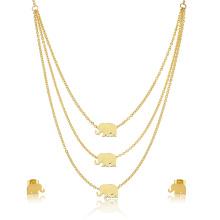 Schöne Designer Gold Halskette Set Gold Elephant Schmuck Set Frau