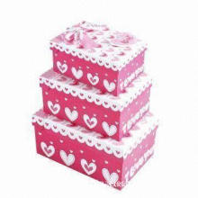 Cardboard Gift Box Set, Lovely Design, Comes in Different Sizes