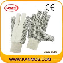 Taladro de algodón punteado Guantes de trabajo industriales de seguridad de mano (410021)