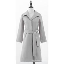 Beigefarbener Tweed-Mantel für Damen