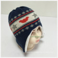 2016 Double Layer 100% Acrylic New Lovely Cute Jacquard Knitted Kids Earflap Hat