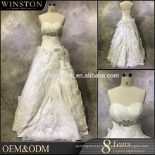 high-quality a line wedding dress removable skirt