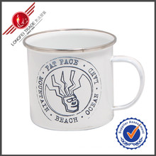 Decal Wholesale Enamel Cups Mugs with Stainless Steel Rim