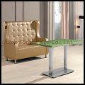 Custom Made Leather Upholstery Restaurant Sofa (SP-KS155)
