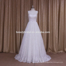 elegant strapless beaded a line wedding gown