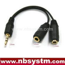 Conector estéreo de 2,5 mm para 2 x 3,5 mm cabo adaptador estéreo