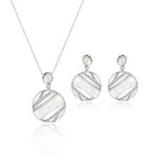 Conjunto de joyas redondas de moda de concha blanca MOP