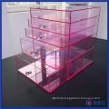 Wholesale Hot Sale Pink Custom Acrylic Makeup Organizer