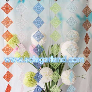 Hollow Out Square Beads Garland Curtains For Hotel Home Decoration