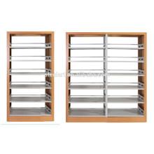 Meubles de bibliothèque en métal couverture en bois double côté étagère