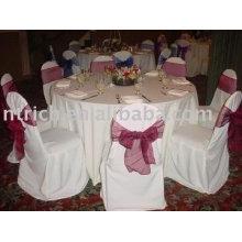 100% poliéster cadeira cobre, tampas da cadeira do hotel/banquete, fitas de organza