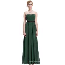 Starzz sin tirantes de hombro largo verde oscuro gasa vestido de dama de honor simplemente ST000066-7