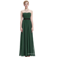 Starzz Strapless Off Shoulder Long Dark Green Chiffon Simply Bridesmaid Dress ST000066-7