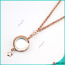 Plaqué Or Rose Floating Lockets Collier gros (FL16040831)