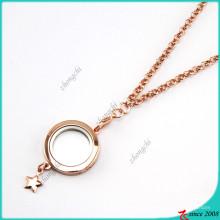 Rose Gold Plain Floating Lockets Necklace Wholesale (FL16040831)
