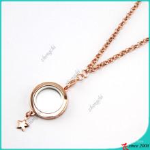 Розовое золото равнина с плавающей медальоны ожерелье Оптовая (FL16040831)