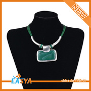 Alloy Jewelry Necklace Jewelry Green Chain Green Pendant Necklace