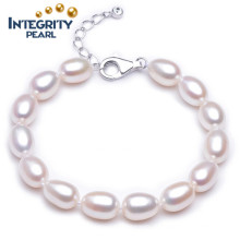 8-9mm Reis AAA mit 925 Sterling Silber Verschluss Weiß Süßwasser Perle Armband