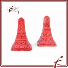 La Torre Eiffel Decorativas rojo esmalte cerámica Sal y Pepper Shaker