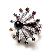 New Brown Crystal Rhinestone Vintage Inspire metal Umbrella shape Stretch Ring antique jewelry wholesale