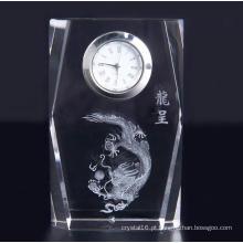 Relógio de cristal quadrado de design simples com logotipo