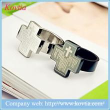 Cooler Kreuzring für Männer Bibel Jesus Christus Ringe Titan Ring Stahl Schmuck
