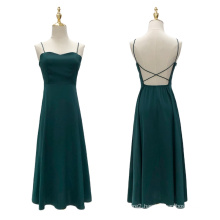 Elegant Sexy Backless Slip Long Evening Silk Dresses