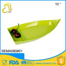 diseño creativo de la manera de la vajilla de melamina de plástico barco en forma de placa