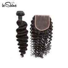 Черный двойной уток норки 10А глубокая волна волос оплетка из Перуанских молодая девушка