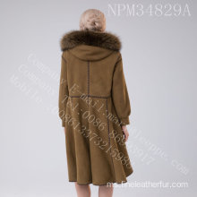 Winter Overcoat Shearling With Lady Motif