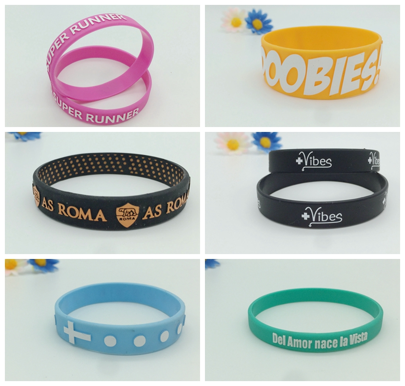 embossed printed silicon bands