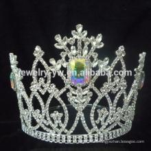 ¡Venta de la fábrica !!! Bastante flor de la nieve de la boda de plata Rhinestone Tiara para las niñas