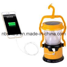 Lanterna solar portátil de 8 diodos emissores de luz, 1 tocha do diodo emissor de luz, USB
