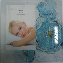 "Blue Flower Glass Photo Frame In 6""X8"""