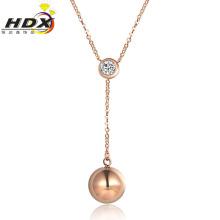 Collar de joyería de moda de acero inoxidable de oro rosa collar de diamantes (hdx1137)