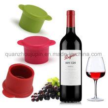 Tapa de la botella del ahorrador de vino del silicón de la venta del logotipo del OEM