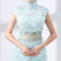2018 new style green color lace evening dress hot sell long design 2pcs set real evening dress