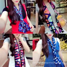 Lady Fashion Printed Satin Seide Magie Mutifunktionale Kragen Schal (YKY1091)