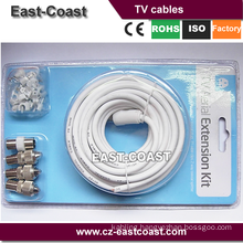 TV AERIAL COAXIAL CABLE EXTENSION KIT-5M COAXIAL CABLE-3X COAXIAL PLUGS