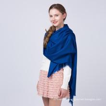 Nouvelle chaude vente plaine écharpe tissée de laine bleue de couleur unie pour l'hiver