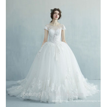 Latest Gorgeous elegant Capped short sleeve Scoop neckline wedding dresses bridal gowns prom ball gowns TS172