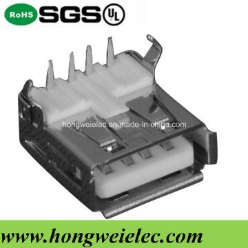 Tipo T fêmea um conector USB 2.0 de 90 graus com 4 pinos