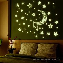 MOQ 500 Beautiful Glow In Dark Sticker, Stickers muraux Chambre d'enfants brillent dans les étoiles sombres
