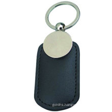 Promotion Crafts Metal Keyring Leather Keychain with Stamp Logo