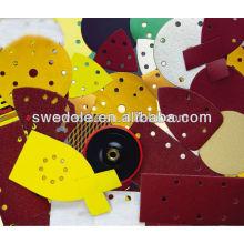 Disco de papel de lixar de saída de fábrica com fecho de gancho e alça / disco de papel de lixamento de óxido de alumínio